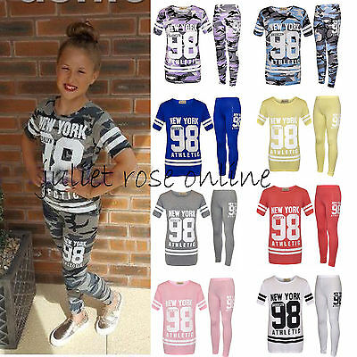 Kids Girls 98 New York Printed Crop Top & Jogging Bottom Legging Set Outfit UK