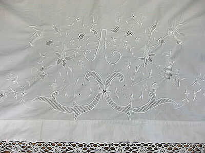 Antique Victorian vintage cotton embroidered white bird table runner topper