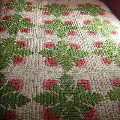Antique quilt post Civil War era vintage 1870 Cockscomb red green appliqué
