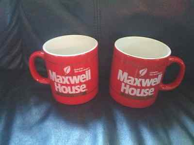 Pair Of Maxwell House InstantCoffee Red Mugs Retro Vintage good to the last drop