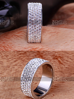 LADIES WOMENS ROSE GOLD or SILVER CRYSTAL BAND RING PREMIUM STAINLESS STEEL