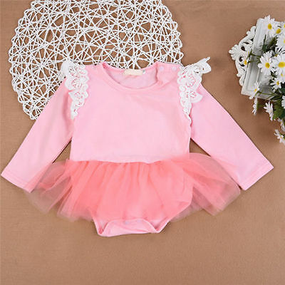 Pink Newborn Baby Girl Long Sleeve Wing Romper Tutu Dress Jumpsuit Bodysuit 0-6M