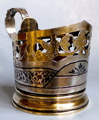 Niello Gilded Glass Holder Ussr Russia Antique Vintage Sterling Silver 875