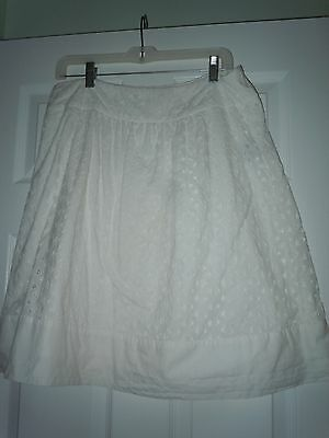 Women's East 5th  White Beautiful Lined A-line Skirt Size 14