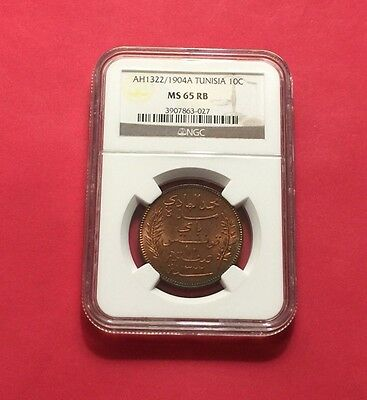 TUNISIA -AH1322/1904-A UNC 10 CENTIMES  NGC MS65 RED-BROWN..rare
