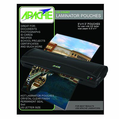 """Apache Thermal Pouches Laminating 100 Count Paper Letter Sheet 5 Mil 9"""" x 11.5"""""""