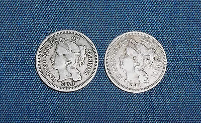 Lot of Two: Three Cent 1870 and 1881 3 Cent Nickel Higher Grade Free Shipping!