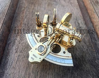 Solid Brass Sextant Handmade Nautical Vintage Maritime Working Astrolabe Sextant