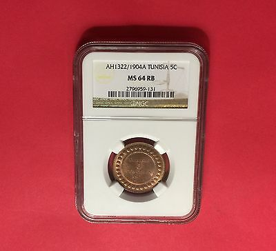 Tunisia - UNCIRCULATED 1904 A,5 C, NGC MS 64 RB....very nice coin.