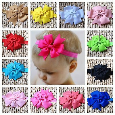 10cm GROSGRAIN RIBBON PINWHEEL BOW SOFT STRETCH ELASTIC HAIR HEADBAND GIRL BABY