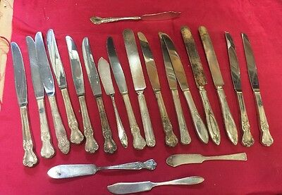 antique old vintage silverware silver plate large lot of 20 Knives