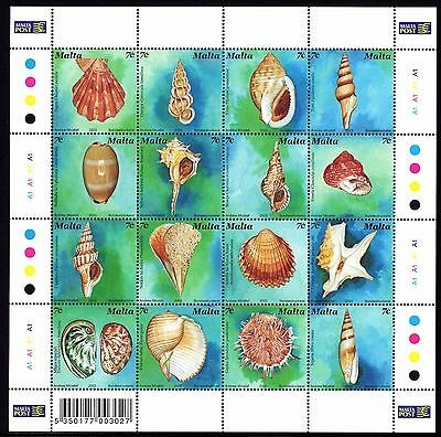 Malta 2003 Sea Shells Sheet Complete Set SG1316 - 1331 Unmounted Mint