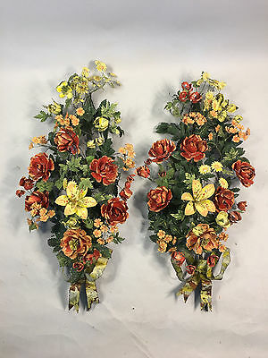 "Antique Pair Grand 40"" French Painted Large Tole Floral Garlands"