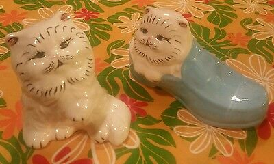 Vintage SET: 2 White PERSIAN  Ceramic CATS with BLUE EYES in Blue Shoe FIGURINE