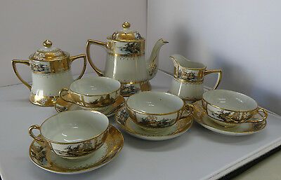 Nippon Senic Tea Set 13 Pieces Marked with Logo Lots of Gold