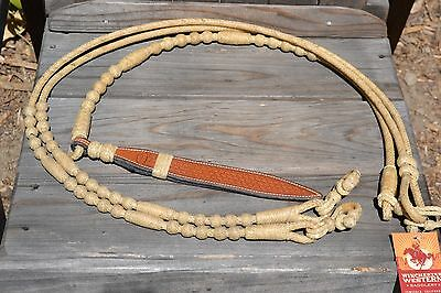 Jose Ortiz 12 plait Golden Natural Rawhide Romel Reins - Oklahoma Style - 54""