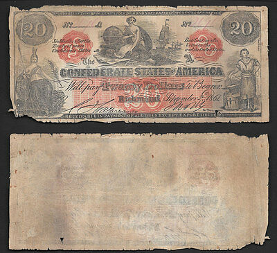 Rare   $20 1861  Confederate States Of America  T-24 Low/grade