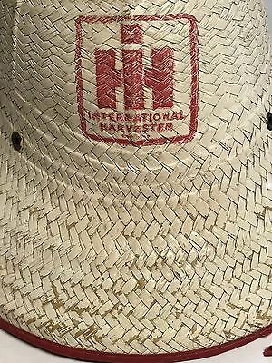 International Harvester Straw Hat - White with Red Edges - Vintage - Original