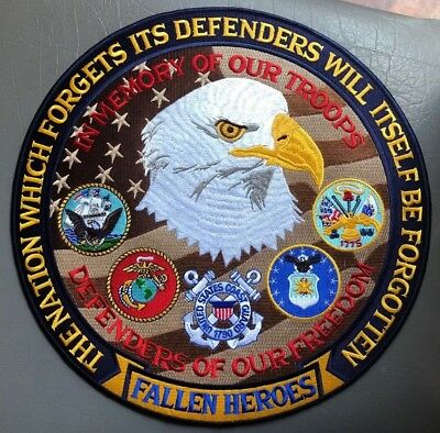 Military biker patches Fallen Heroes  large 12 inch back new