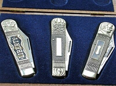 Vintage Germany JW Hickey & Sons Limited Edition Knife Set in Case Abe Lincoln