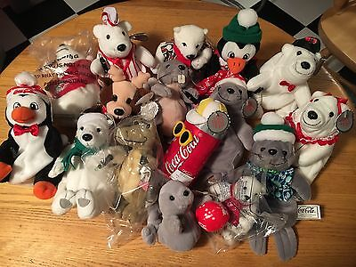 Coca Cola Bean Bag Plush Beanie Babies - Lot of 16! Instant Collection!