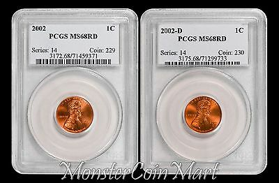 2-Piece Set  -  2002 and 2002-D Lincoln Cents PCGS MS68RD