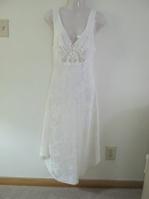 Vintage Lucie Ann Ii Silky Satin Tea Length Nightgown Usa Made Small Ivory Euc