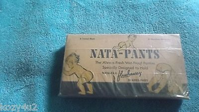 ANTIQUE RARE 1940s NATA PANTS DIAPERS PADS FLUSHAWAY VINTAGE BABY NICE GRAPHICS