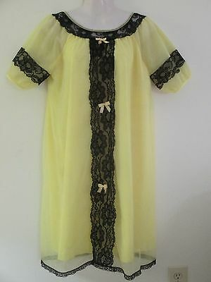 Vintage Nylon Chiffon Nightgown Nightie Yellow Black Lace Puff Sleeves Med/lg