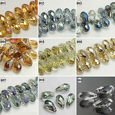 50/100pcs Plating Mixed Colour Synthetic Crystal Drip Shape Faceted Loose Beads