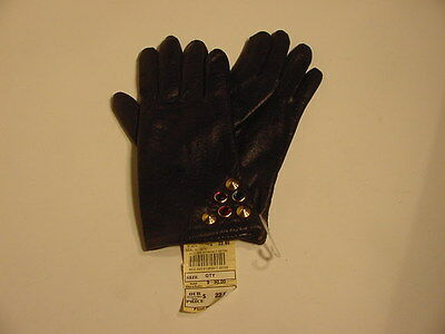 Women's Fancy Leather Gloves - Size M - Decorative Grommets - NEW
