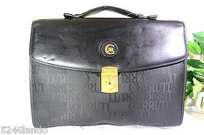 c94e89bc75 Vintage CERRUTI 1881 Black Nylon and Leather Briefcase Handbag Hand Bag  Italy