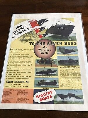 1943 VINTAGE 10X13 WWII PRINT AD Higgins BOATS SEVEN SEAS OF A WAR TORN WORLD