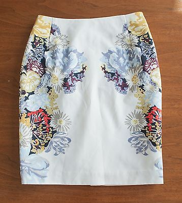 H&M Women's Size 4 Ivory Floral Print Pencil Career Work Skirt