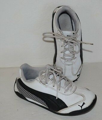 Puma White & Black Leather Lace Up Athletic Shoes Toddler Boys Sz 12  *guc*