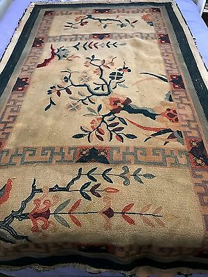 Antique Chinese Art Deco Carpet Rug 6' by 3'+ (72 by 40 inches)