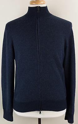 Polo Ralph Lauren Blue Full-Zip 100% Cashmere Sweater Mens Medium M
