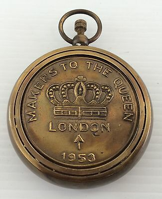 Collectable Makers To The Queens London 1953 Soild Brass Pocket Watch Compass
