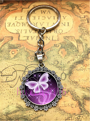 Hot Tibetan silver Butterfly Cabochon Glass Pendant Metal Key Ring New 8