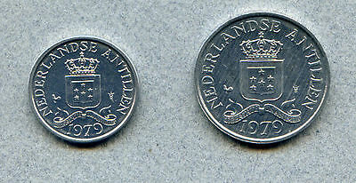 Netherlands Antilles 1 -2½¢ 1979 set of 2 Brilliant Uncirculated KM 8a 9a