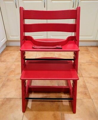 RED Stokke Tripp Trapp high chair with baby bar - Great Condition