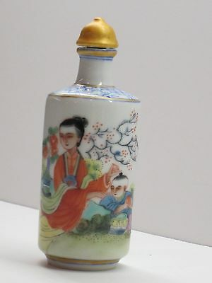 Chinese Snuff Bottle Hand Painted Lady Child