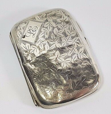 "Antique Sterling Silver Engraved Cigarette Case 1911 Monogram ""le"""