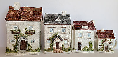 4 PCS VTG Otagiri Japan Hand Crafted Cottages Houses Canisters Porcelain T10""