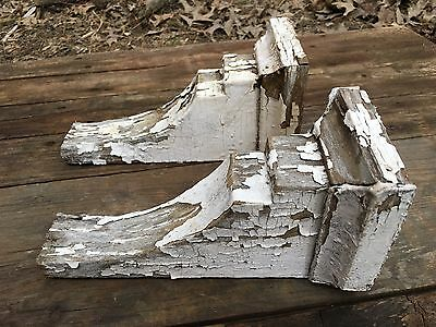 Matching Pair Antique Architectural Salvage Wooden Corbels Chippy Book Shelf