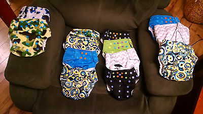 Lot of 14 One Size Alva Double Gusset Cloth Diapers with Inserts and Doublers