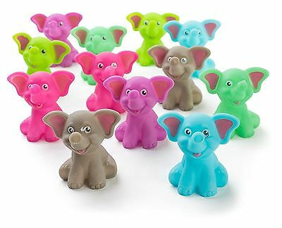 """12 Pack Squirting Bath Toys 2"""" Rubber Elephant Squirts Baby and Children Toys in"""