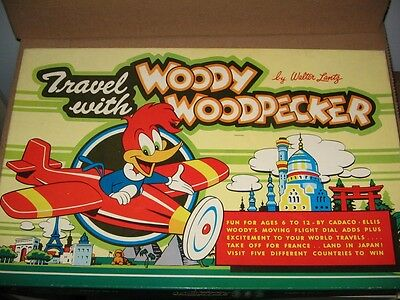 Woody Woodpecker  Cadaco-Ellis 1958 Original Game Travel With Woody Nice