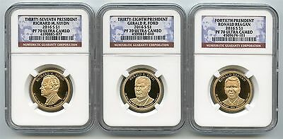 2016 S Presidential Dollar Proof Set NGC PF70 Ultra Cameo w/ Ronald Reagan