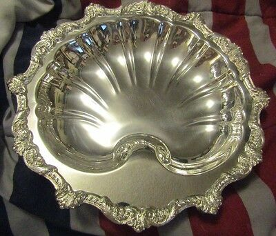 Poole Silver Co. E.P.C.A. Silver Plate Clam Shell Serving Dish Ornate Trim #5925